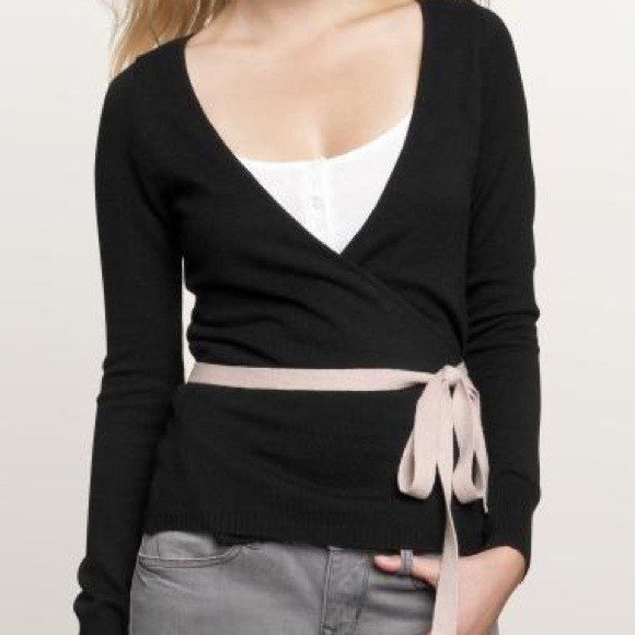 black ballet wrap sweater pink ribbon bow belt