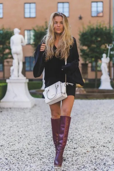 black bell sleeve dress grey leather knee high boots