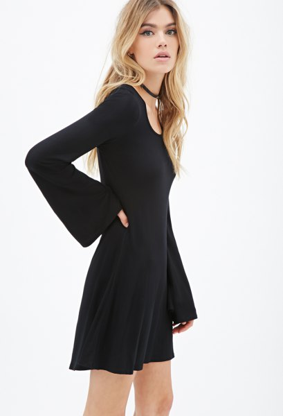 black bell sleeve skater dress choker necklace