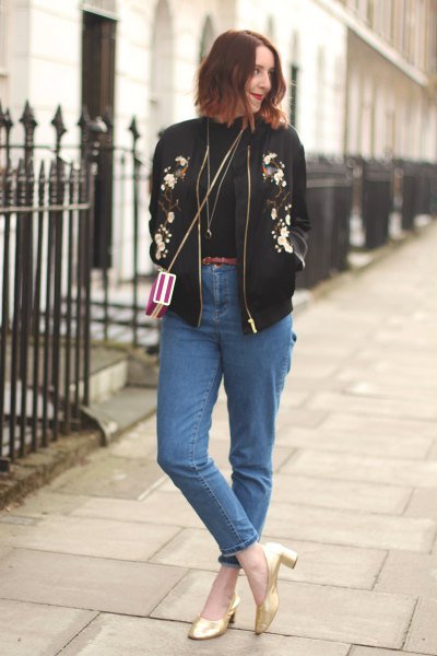 black bomber jacket mom jeans