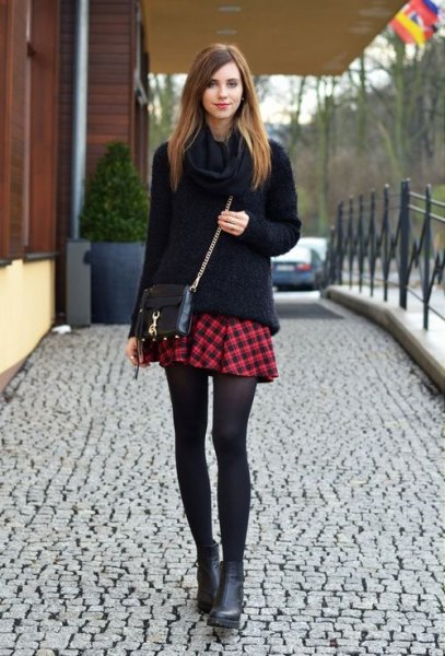 black chunky sweater mini skater skirt