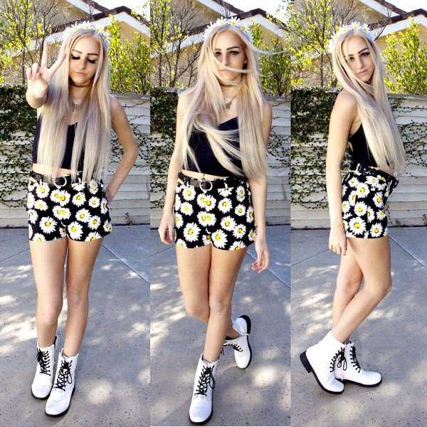 black crop top shorts white combat boots