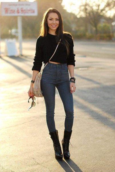 black cropped hoodie high waisted blue skinny jeans
