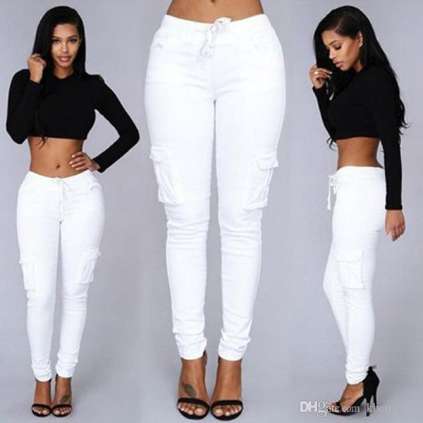 black cropped sweater white jeans