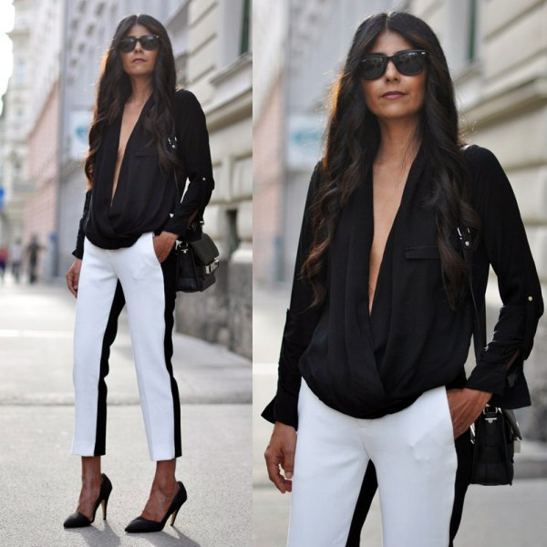 black deep v neck top dress pants