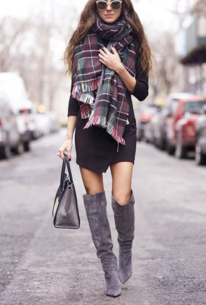How to Style Grey Knee High Boots Outfit Ideas for Women