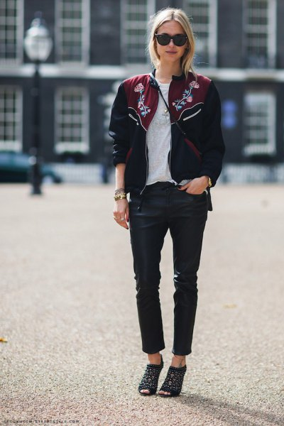 black embroidered bomber jacket leather pants