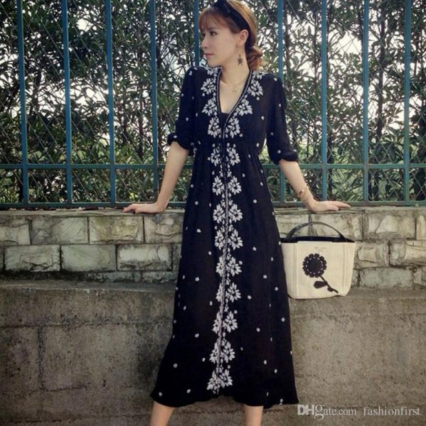 black floral button front midi dress