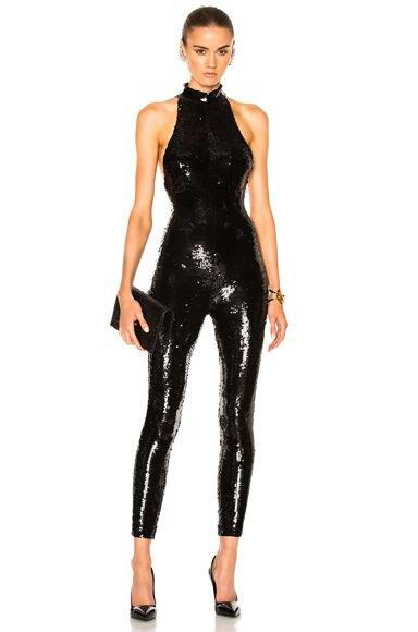 black halter neck sequin skinny tight jumpsuit