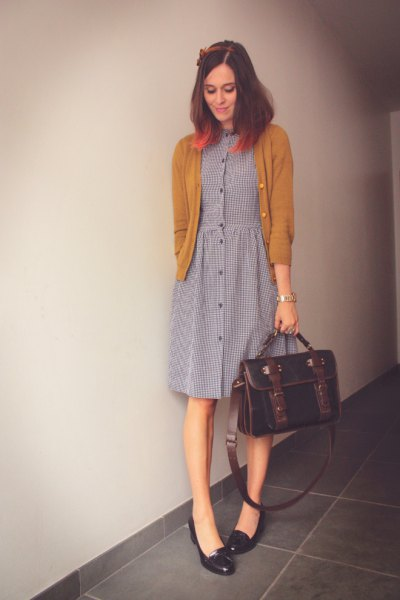 black heeled loafers grey button front shirt dress