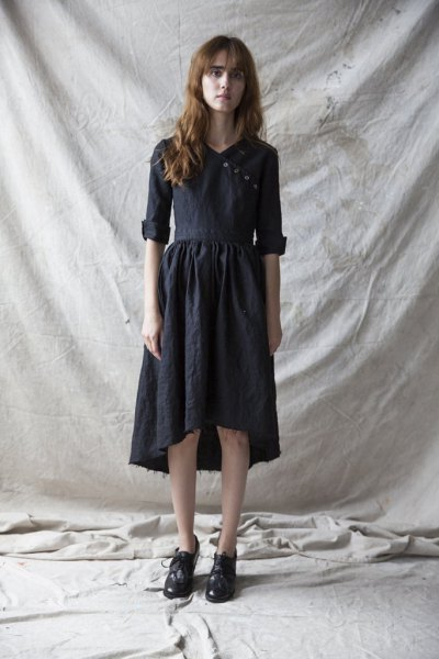 black high low linen midi dress