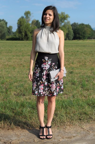 black high rise floral a line skirt