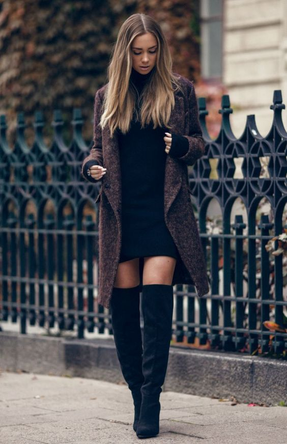 black knit dress long coat