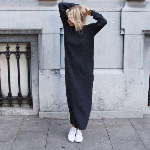 black knit dress oversized