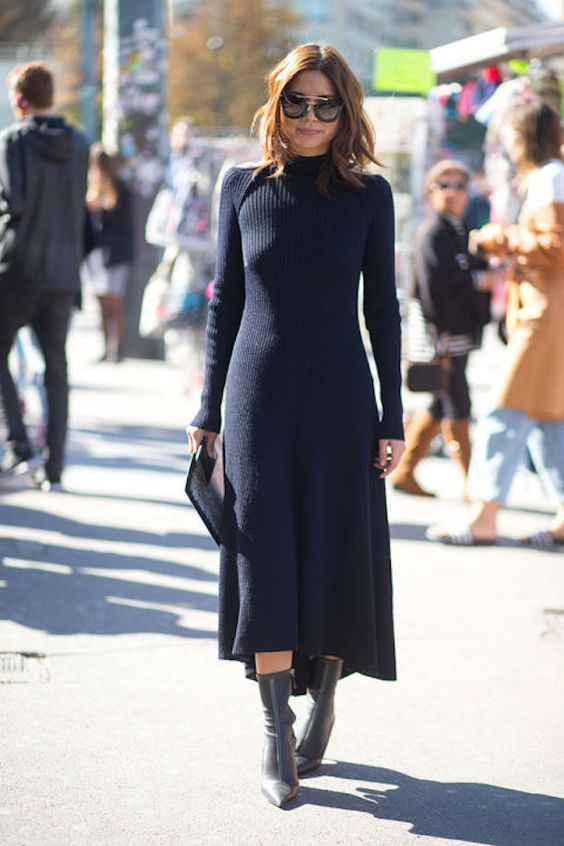 black knit dress turtleneck