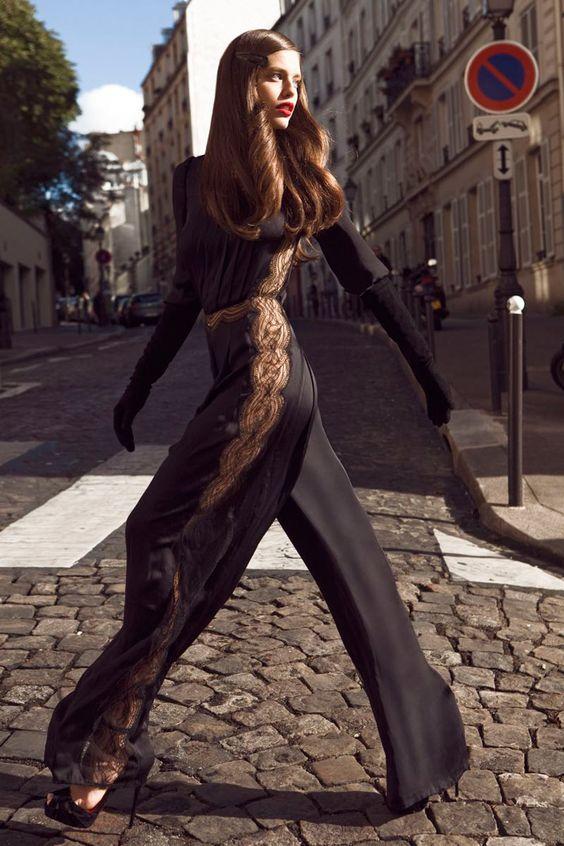 black lace jumpsuit silk