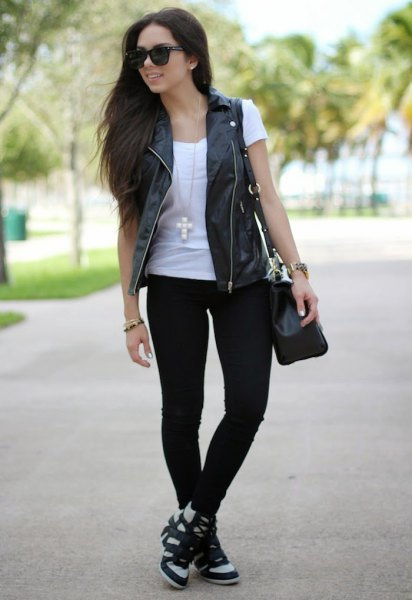 black leather vest white t shirt jeans