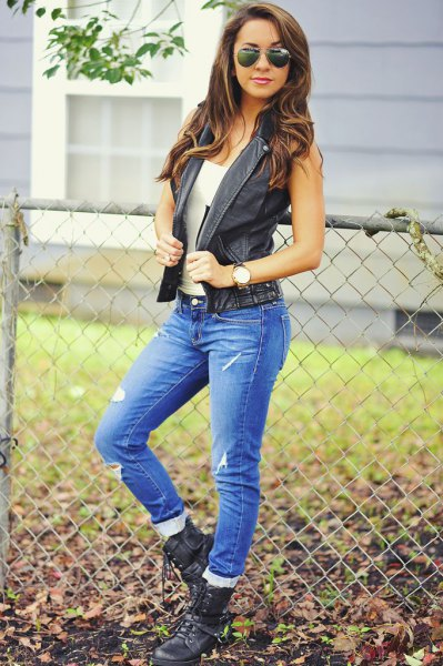 black leather vest white tank top