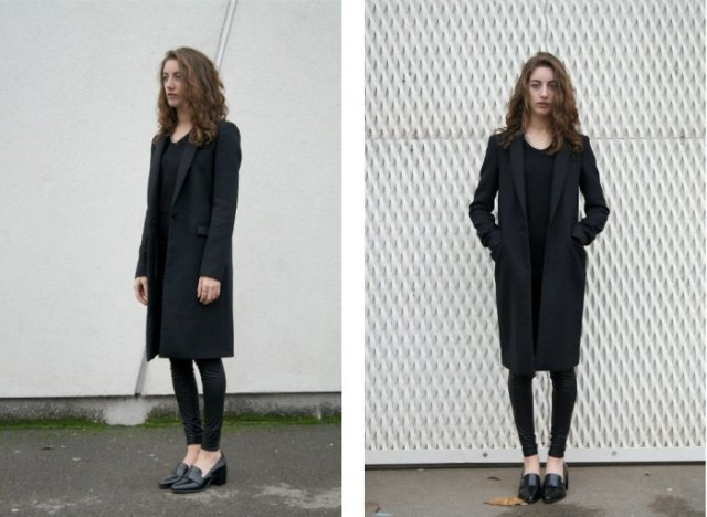 black long blazer heeled loafers