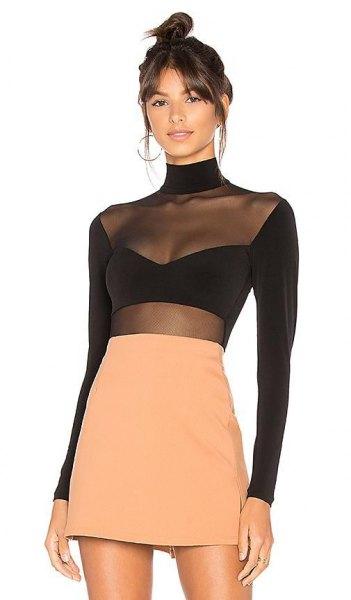 black long sleeve top mesh overlay orange skirt