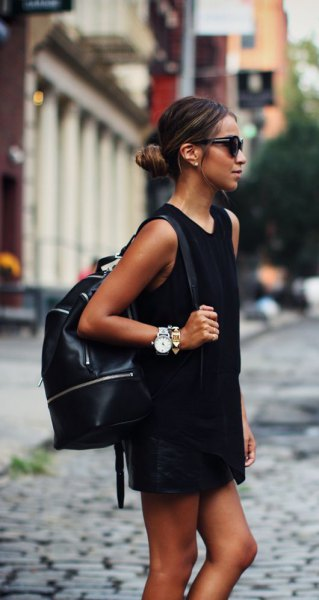 black mini shirt dress leather backpack