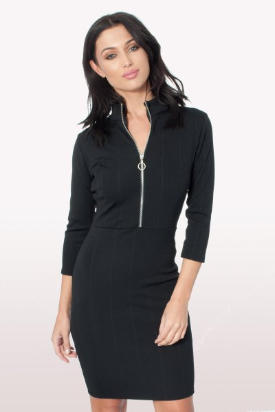 black mock neck bodycon dress