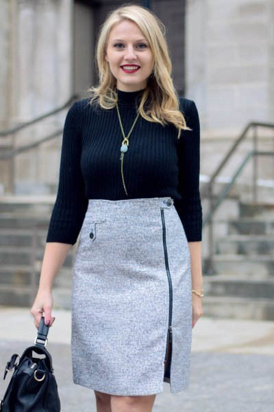 black mock neck sweater grey tweed pencil skirt