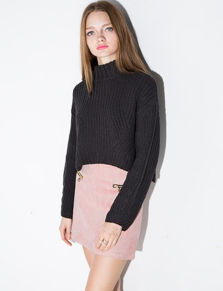 black mock neck sweater pink suede mini skirt