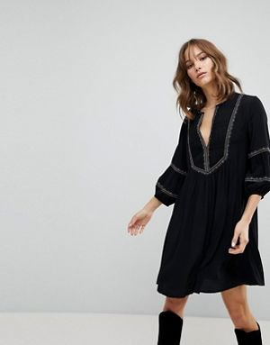 black puff sleeve smock dress boots
