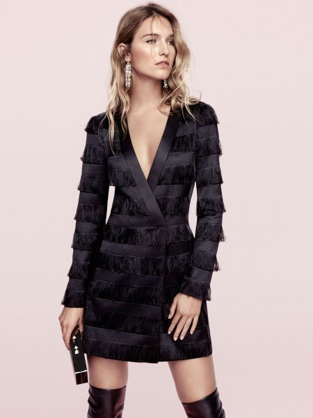 black silk fringe jacket dress