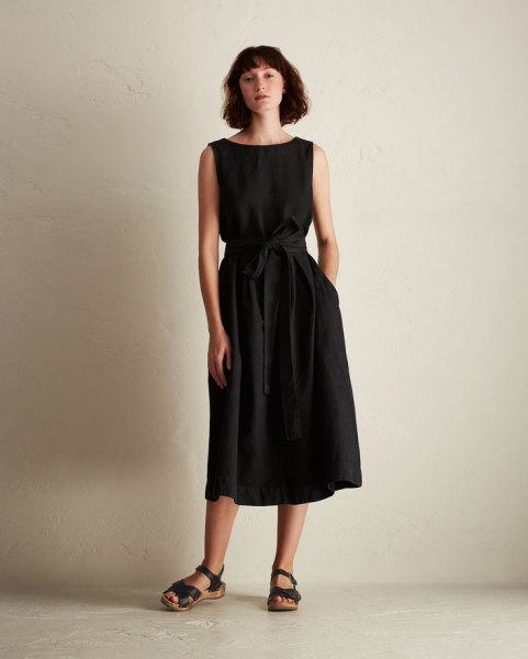 black sleeveless belted midi flare linen dress
