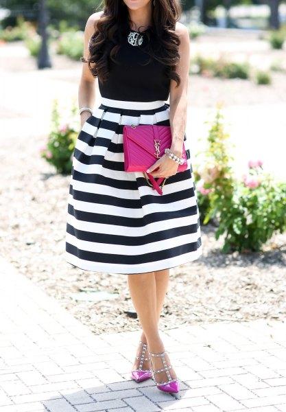 black sleeveless top pink heels