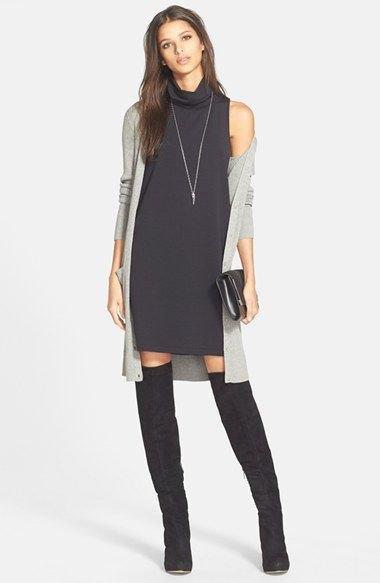 black sleeveless turtleneck dress grey cardigan