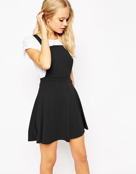 black square neck pinafore skater dress