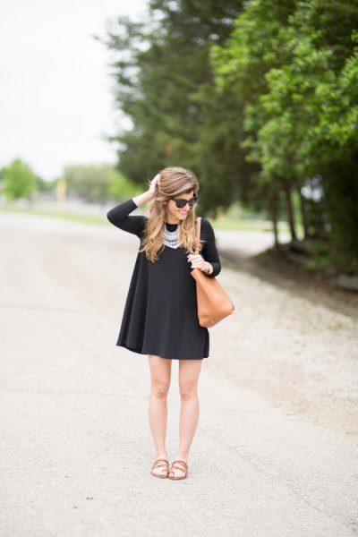 black swing dress statement necklace