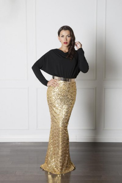 black top gold sequin mermaid skirt