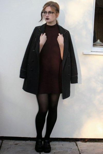 black turtleneck dress long wool coat