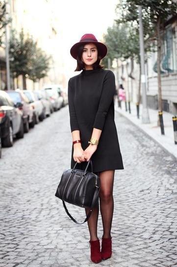 black turtleneck swing dress felt hat