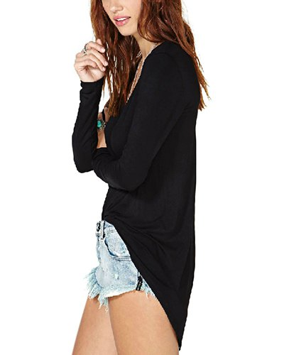 black v neck high low shirt denim mini shorts