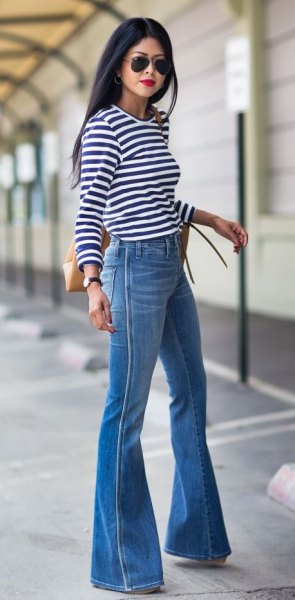 blue bell bottom jeans striped long sleeve tee