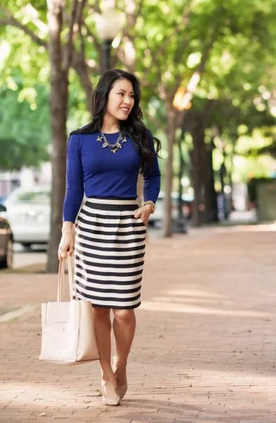 blue long sleeve tee black and white striped pencil skirt