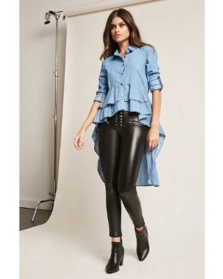 blue multi layered peplum high low shirt leather leggings
