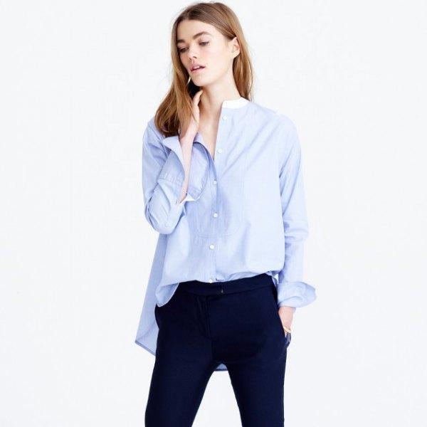 blue oversized long sleeve shirt black skinny jeans