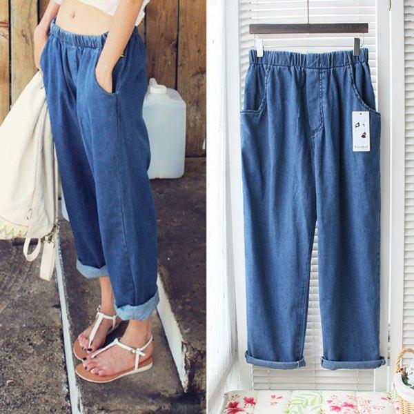 blue wide leg elastic waist jeans white top