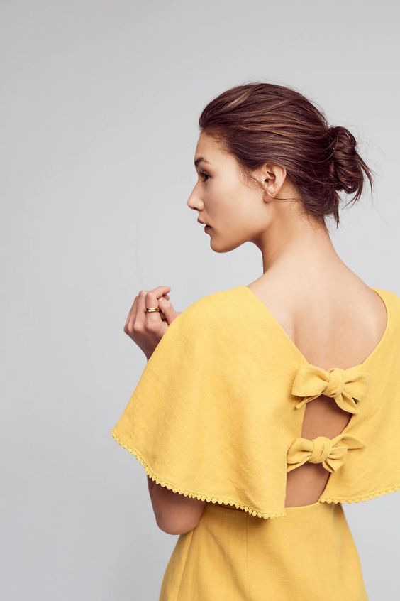 bow back dress yellow