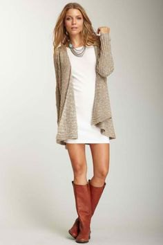 brown boots white shift dress