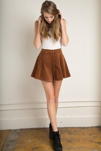 brown corduroy button up skater skirt white sleeveless top