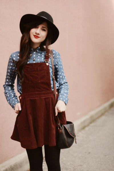 brown corduroy dress grey polka dot shirt