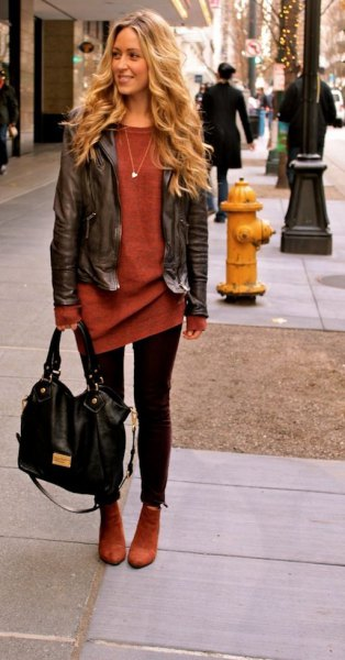 brown leather jacket green sweater dress