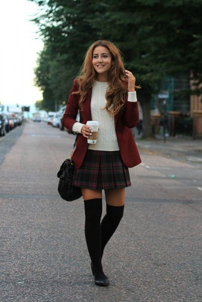 burgundy blazer white ribbed sweater